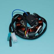 Зажигание скутер 4-х т. 50-80 куб.см. (статор 8 катушек, штекер 2к и 2 провода) Ж-Б-КрЧ-СиБ
