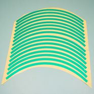 Наклейки на колесо 10-12 (зеленые светоотражающие, 16 полосок)