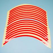 Наклейки на колесо 10-12 (красные светоотражающие, 16 полосок)