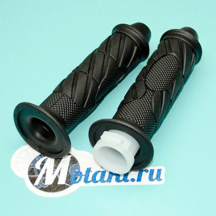 Ручки руля скутер QT-4A, Альфа (грипсы с проставкой газа на руль d22 мм.)