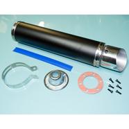 Глушитель прямоточный (420 x 100 мм., ТУРБИНА N3 ЧЕРНЫЙ, переходник D100 мм.)