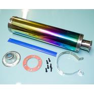 Глушитель прямоточный (420 x 100 мм., ЦИЛИНДР N4 РАДУЖНЫЙ, переходник D100 мм.)