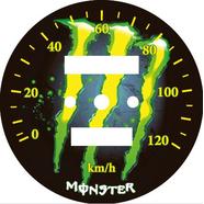 Наклейка спидометра Альфа и др. 120 км/ч. (Monster желто-зеленая ТИП28)
