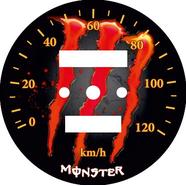 Наклейка спидометра Альфа и др. 120 км/ч. (Monster красно-оранжевая ТИП29)
