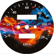 Наклейка спидометра Альфа и др. 120 км/ч. (Пламя ТИП35)