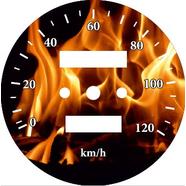 Наклейка спидометра Альфа и др. 120 км/ч. (Пламя ТИП36)