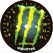 Наклейка тахометра Альфа и др. (Monster желто-зеленая ТИП37)