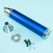 Глушитель прямоточный Альфа, скутер (280 x 60 мм., N11 СИНИЙ, переходник D65 мм.)