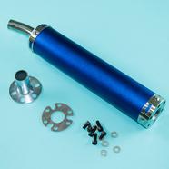 Глушитель прямоточный Альфа, скутер (280 x 60 мм., N10 СИНИЙ, переходник D65 мм.)