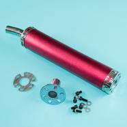 Глушитель прямоточный Альфа, скутер (280 x 60 мм., N10 КРАСНЫЙ, переходник D65 мм.)