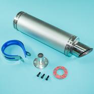 Глушитель прямоточный Альфа, скутер 50-80 куб.см. (300 x 90 мм., N1 СЕРЕБРО, переходник D65 мм.)