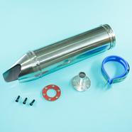 Глушитель прямоточный Альфа, скутер 50-80 куб.см. (300 x 90 мм., N2 хром, переходник D65 мм.)