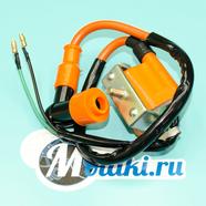 Катушка зажигания Альфа, TTR125, Динго T125 (оранжевая, силиконовый колпак)