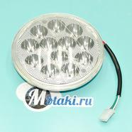 Лампа фары Альфа (12 LED диодов 9-36В со СТЕКЛОМ, D140 мм.)