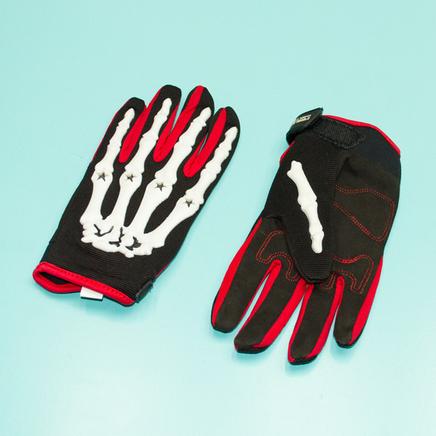 Перчатки PRO-BIKER CE-04 (размер XL, красные, кисть скелета)