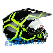 Шлем BLD819-4 (черно-зеленый, размер XS, НО реально 56-57, кросс)