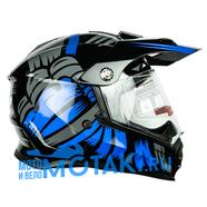 Шлем BLD819-6 (черно-синий, размер XS, НО реально 56-57, кросс)