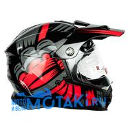 Шлем BLD819-6 (черно-красный, размер XS, НО реально 56-57, кросс)