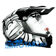 Шлем BLD819-6 (черно-белый, размер XS, НО реально 56-57, кросс)