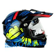 Шлем BLD819-6 (черный-синий-желтый, размер XS, НО реально 56-57, кросс)