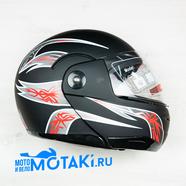 Шлем BLD155 (черно-красный МАТОВЫЙ, размер XS, НО реально 55-56, модуляр)