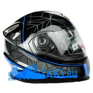 Шлем BLD 999 (ЧЕРНО-СИНИЙ, 2 ВИЗОРА, размер S, НО реально 57-58, интеграл)