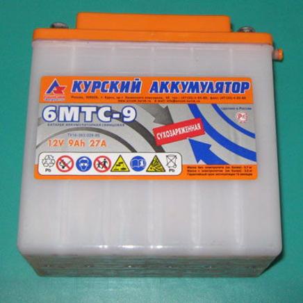 Аккумулятор 12В 9Ач 27А 6МТС-9 (г. Курск)