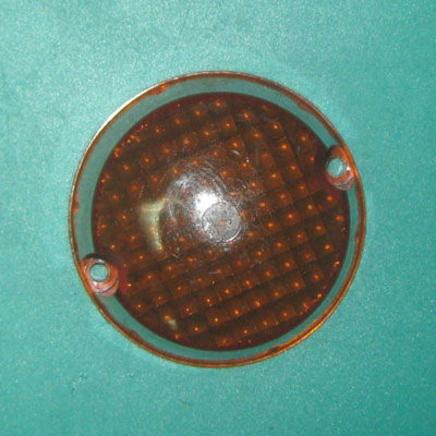 Стекло поворота Иж круглое (ЖЕЛТЫЙ СЕТКА рассеиватель фонаря-указателя)