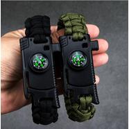 Браслет тактический Survival (зеленый паракорд, кремень, нож-скребок, свисток, компас)