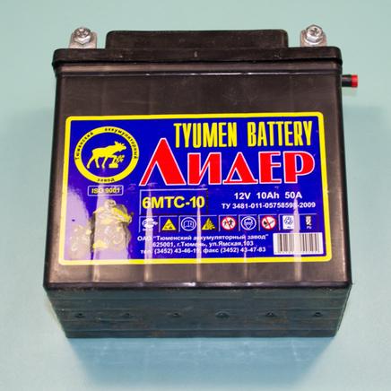 Аккумулятор 12В 10Ач 50А 6МТС-10 Лидер (140 x 77 x 135 мм., Тюмень)