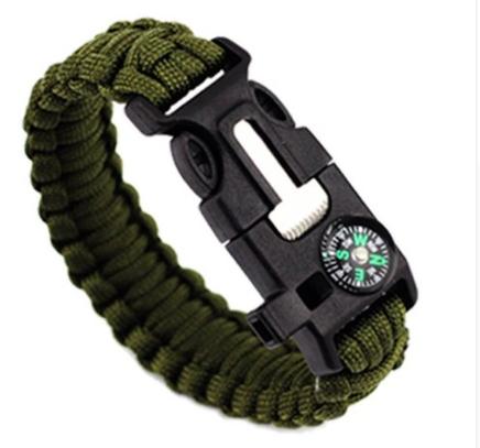 Браслет тактический Survival (зеленый паракорд, кремень со скребком, свисток, компас)