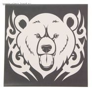 Наклейка Медведь (винил, белый на черном фоне, 200 х 200 мм.)