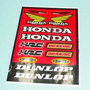 Наклейки Хонда DUNLOP (винил, 220 х 330 мм., 14 наклеек, красные)
