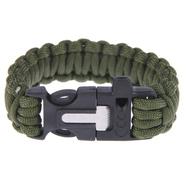 Браслет тактический Survival (зеленый паракорд, кремень со скребком, свисток)