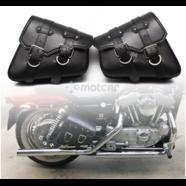 Сумки багажные мото (черный кожзам, сталь, размеры на фото)