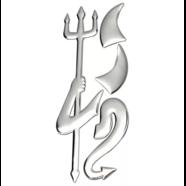 Наклейка Трезубец, рога, хвост (серебро)