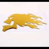 Наклейка Огненный ЧЕРЕП (золото, 3D гибкая, 150 x 60 мм.)