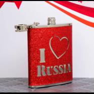 Фляжка I LOVE RUSSIA (210 мл., нержавеющая сталь)