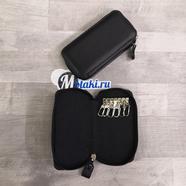 Ключница (натуральная кожа, 6 карабинов, черный, 135 x 70 x 23) N10.1