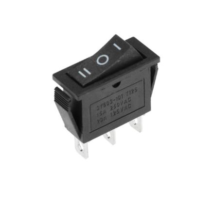 Выключатель клавишный ON - OFF - ON (квадратный черный 13 х 30 х h35 мм.)