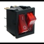 Выключатель клавишный ДВОЙНОЙ с подсветкой (квадратный красный 25 х 30 х h30 мм.)