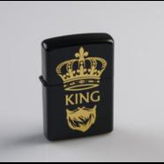 Зажигалка бензиновая KING (кремний, черный металл, не заправлена)