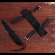 Нож в оплетке (185 мм., лезвие с зазубринами, черный чехол)