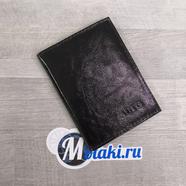 Обложка для водительских документов (натуральная кожа, черный лаковый, AVTO) N2.5