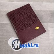 Обложка для паспорта, водительских документов (натур. кожа, темно-бордовый игуана) N3.3