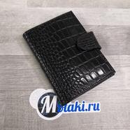 Портмоне  (паспорт и водительские документы, натуральная кожа,черный крупный крокодил) N4.2