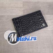 Визитница (натуральная кожа, темно-синий крокодил, 20 карт) N5.13