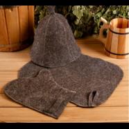 Набор для бани и сауны тёмный (3 предмета)