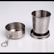 Рюмка складная с крышкой и карабином (150 мг., нержавеющая сталь)