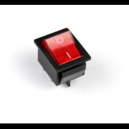 Выключатель клавишный с подсветкой (квадратный красный 30 х 25 х 25 мм.)